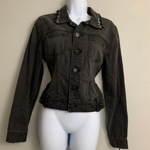 CAbi Black Beaded Distressed Denim Jacket M A2
